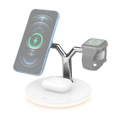 Magnetic Wireless Charging Station for iPhone,Apple Watch & AirPods 15W with LED Light - White