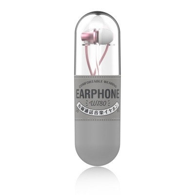 WK WI80 3.5mm In Ear Wired Control Music Earphone - Pink