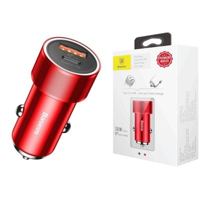Baseus Car Charger Small Screw Type-C PD + USB Quick Charge 36W - Red (CAXLD-A09)
