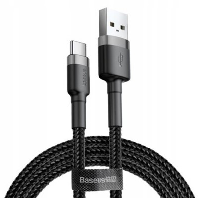 BASEUS CAFULE CABLE USB TO TYPE C 2A 2M – GRAY/BLACK CATKLF-CG1