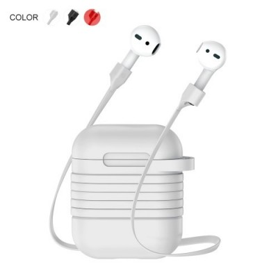 BASEUS SILICONE PROTECTION CASE WITH ANTI-LOST HEADPHONE STRAP FOR APPLE AIRPODS – GREY