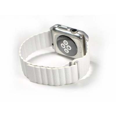LEATHER LOOP APPLE WATCH SERIES 42MM / 44 MM MAGNETIC CLOSURE – WHITE