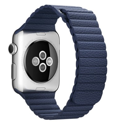 LEATHER LOOP APPLE WATCH SERIES 42MM / 44 MM MAGNETIC CLOSURE – BLUE