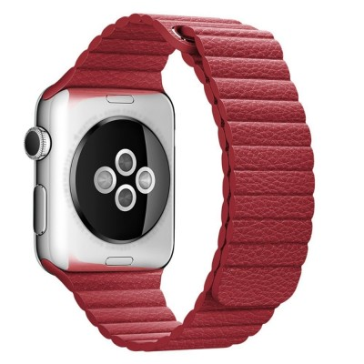LEATHER LOOP APPLE WATCH SERIES 42MM / 44 MM MAGNETIC CLOSURE – RED