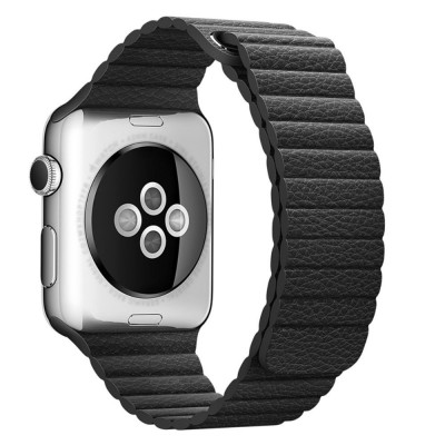 LEATHER LOOP APPLE WATCH SERIES 42MM / 44 MM MAGNETIC CLOSURE – BLACK