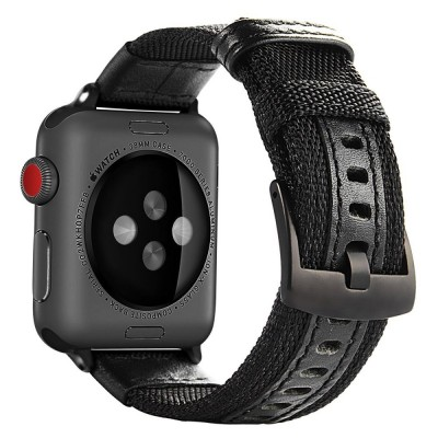 APPLE WATCH 42MM/44MM NYLON STRAP BAND /STAINLESS METAL CLASP – BLACK