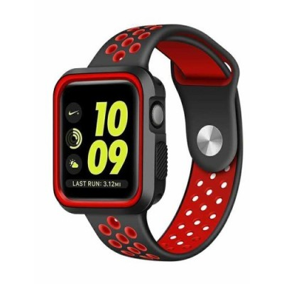 TECH-PROTECT SOFTBAND FOR APPLE WATCH (42/44MM) – BLACK/RED