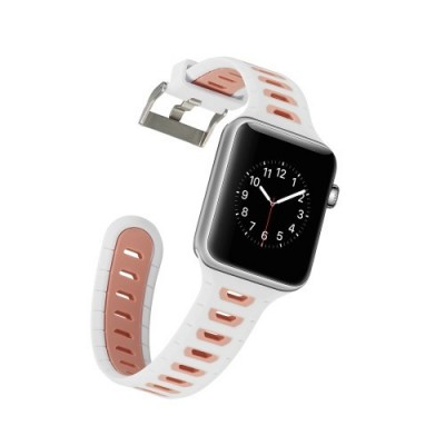 ΛΟΥΡΑΚΙ ΓΙΑ APPLE WATCH 38/40 MM CONTRAST COLOR SILICONE BAND ΛΕΥΚΟ/ΡΟΖ