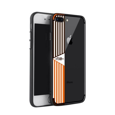 ΘΗΚΗ NXE STRIPE PATTERN PAINTING PC + TPU COMBO BACK ΓΙΑ IPHONE 7/8 PLUS ORANGE OEM