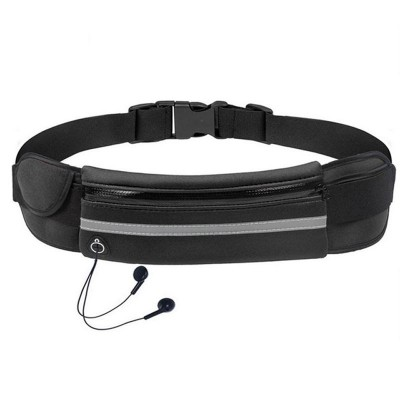 Ultimate Running Belt with bottle holder and headphone outlet - Black