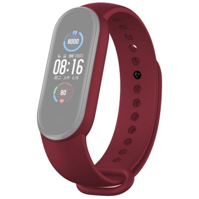 Λουράκι για Xiaomi Mi Band 5 Silicone Strap - Wine Red