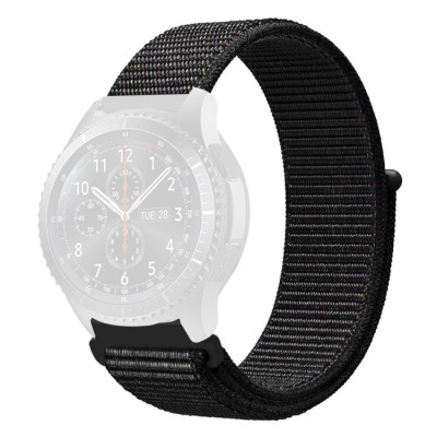 Λουράκι Simple Nylon Braided 22mm για Huawei Watch GT/GT2 & Galaxy Watch 46mm - Black
