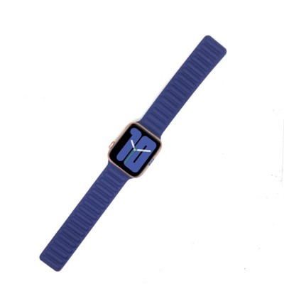 Genuine Leather Magnetic Watch Strap for Apple Watch 44mm/42mm - Dark Blue