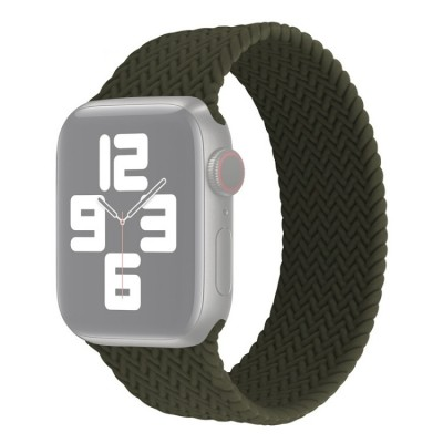 Λουράκι Single Turn Woven Silicone για Apple Watch Series 6/5/4/SE 44mm - Army Green Large