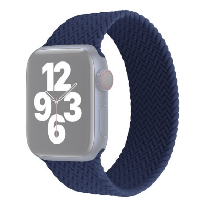 Λουράκι Single Turn Woven Silicone για Apple Watch Series 6/5/4/SE 44mm - Navy Blue Large