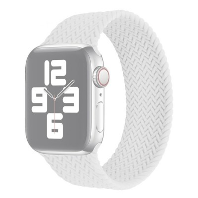 Λουράκι Single Turn Woven Silicone για Apple Watch Series 6/5/4/SE 44mm - White Medium