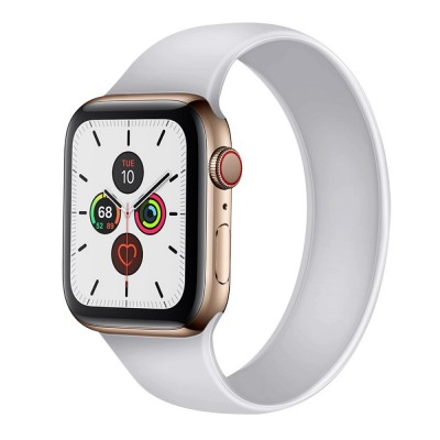OEM Apple Watch New Style Solo White Silicone Strap (size M- fits all 42/44 series)