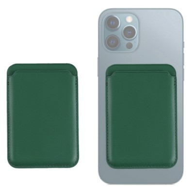 Leather Card Wallet with Magsafe for iPhone 12/12 Pro Max - Green